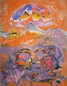 Alfred Klinkan - Schlange und Igel - Malerei - 1986