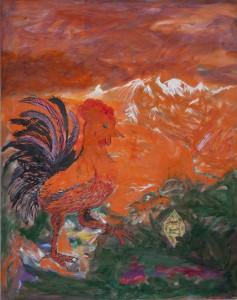 Alfred Klinkan - Der Hahn und der Diamant - Malerei - 1986