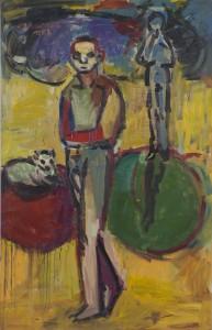 Alois Mosbacher - mit Katze - Malerei - 1982